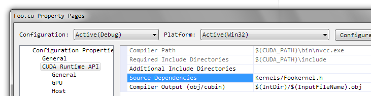Visual Studio: Dependency for  cu Files – Code Yarns