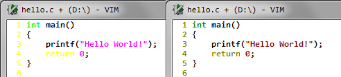 Left: Default colors of Vim are horrible with background=dark. Right: With background=light