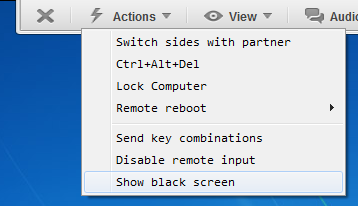 How to show black screen on remote computer using TeamViewer