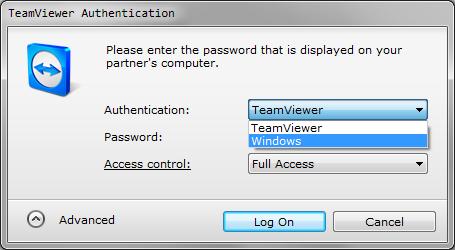 TeamViewer: Using Windows login on remote computer