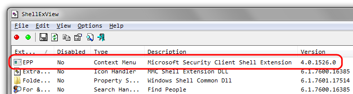 Entry of Microsoft Security Essentials in ShellExView