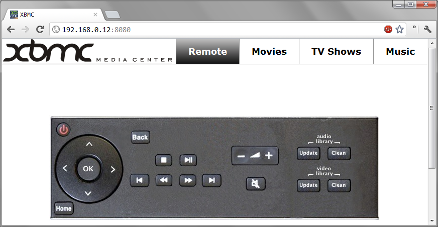 Remote control your Raspbmc from a browser.