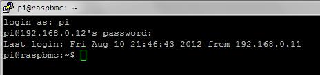 SSH into Raspbmc