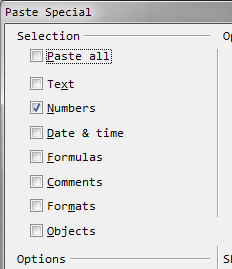 Paste Special to paste results of formulas