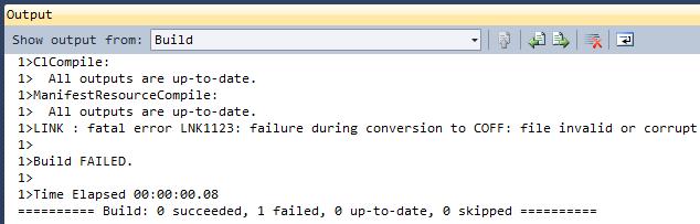 Conversion to COFF failure.