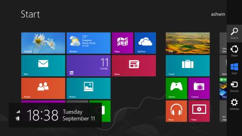Charms bar in Windows 8