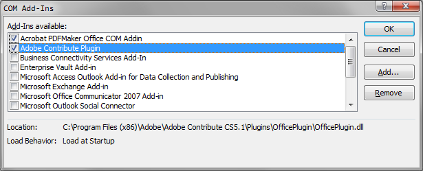 Disable add-ins in Outlook 2010