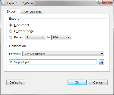 Export DJVU as PDF in DJView