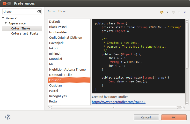 Color themes in Eclipse