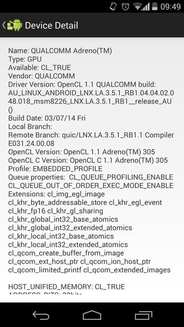 OpenCL Info on Qualcomm Adreno GPU of Moto G