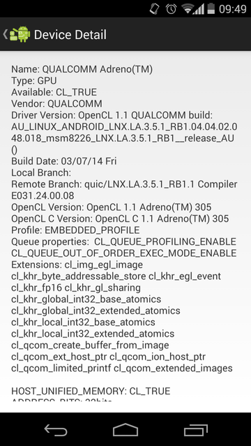 OpenCL Info on Qualcomm Adreno GPU of Moto G
