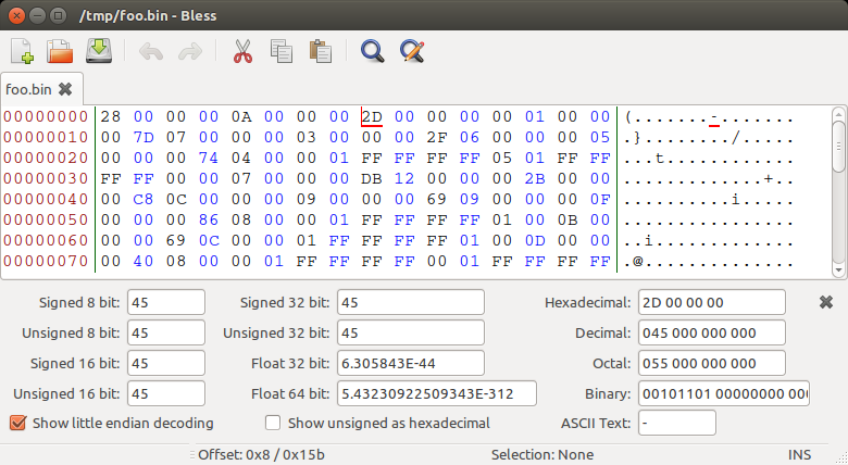 Examining a binary file in Bless hex editor