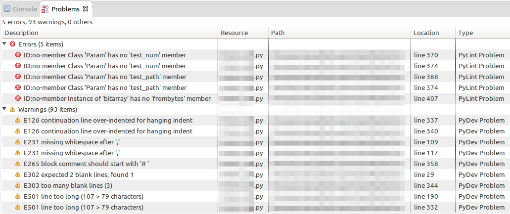 Problems found and listed by PyLint in Eclipse