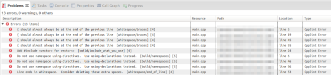 Errors found by CPPLint in Eclipse CDT