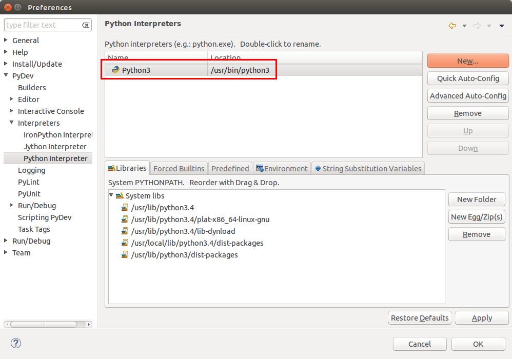 Python 3 as interpreter in Eclipse