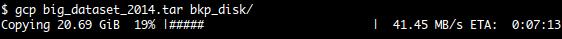 gcp showing progress of a file copy