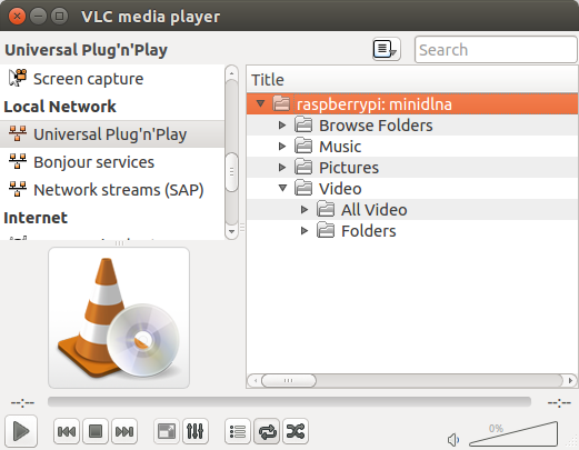 Viewing content of a MiniDLNA server in VLC