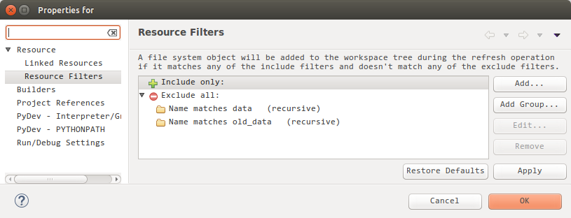 Directories excluded from a project in Eclipse