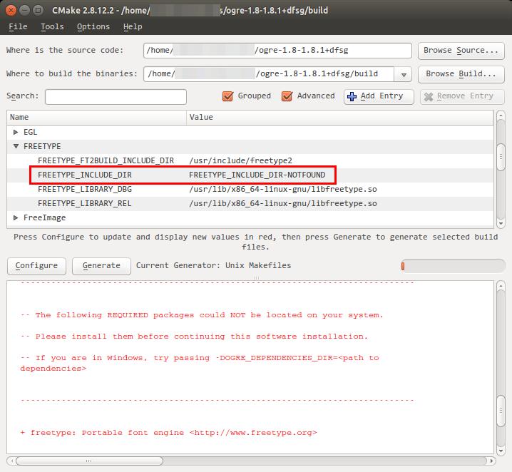FreeType error in CMake GUI