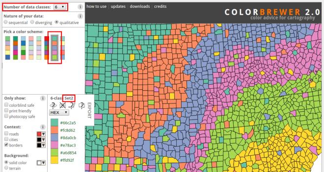 Set2 color palette chosen in Color Brewer