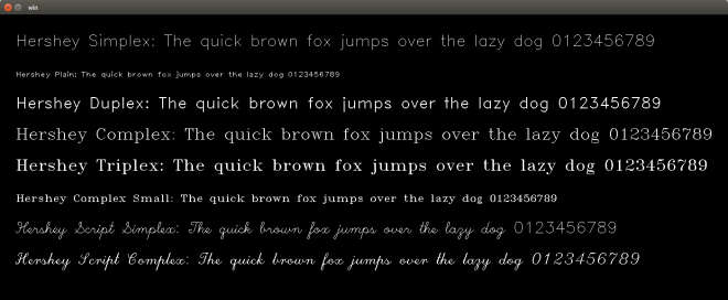 Fonts available in OpenCV