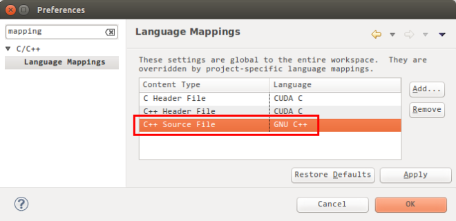 Add the mapping for C++ source file in Nsight