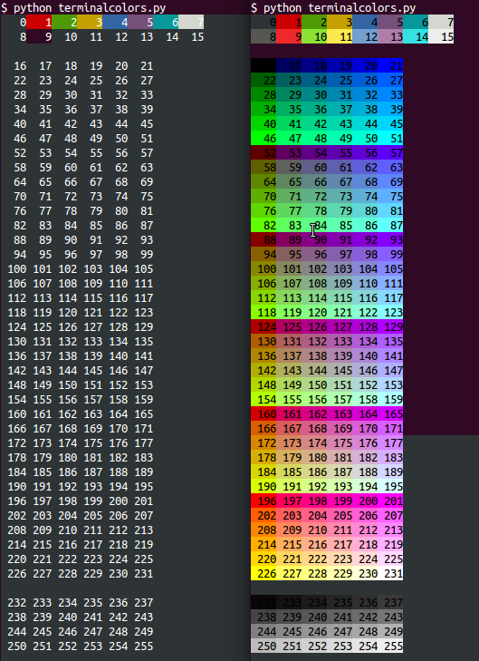Left: terminalcolors.py reporting 8 colors for xterm Right: For xterm-256color