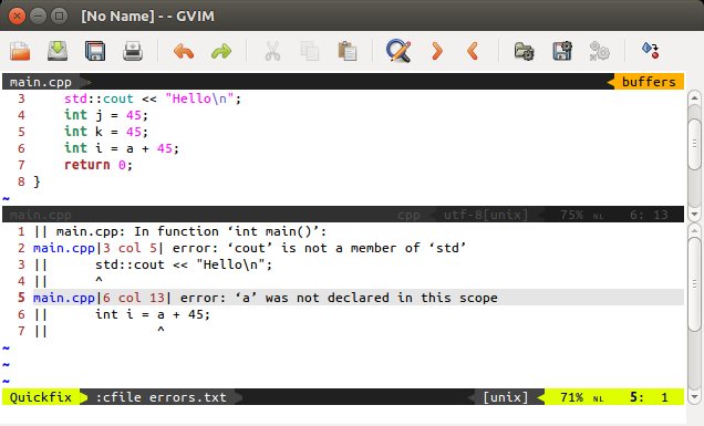 Compile, view errors and fix them from inside Vim using Quickfix