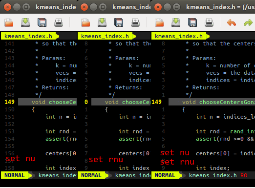 Absolute, relative and hybrid line numbers in Vim